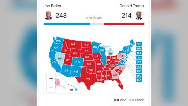 Update: Présidentielles américaines : Biden remporte 248 grands électeurs contre 214 pour Trump
