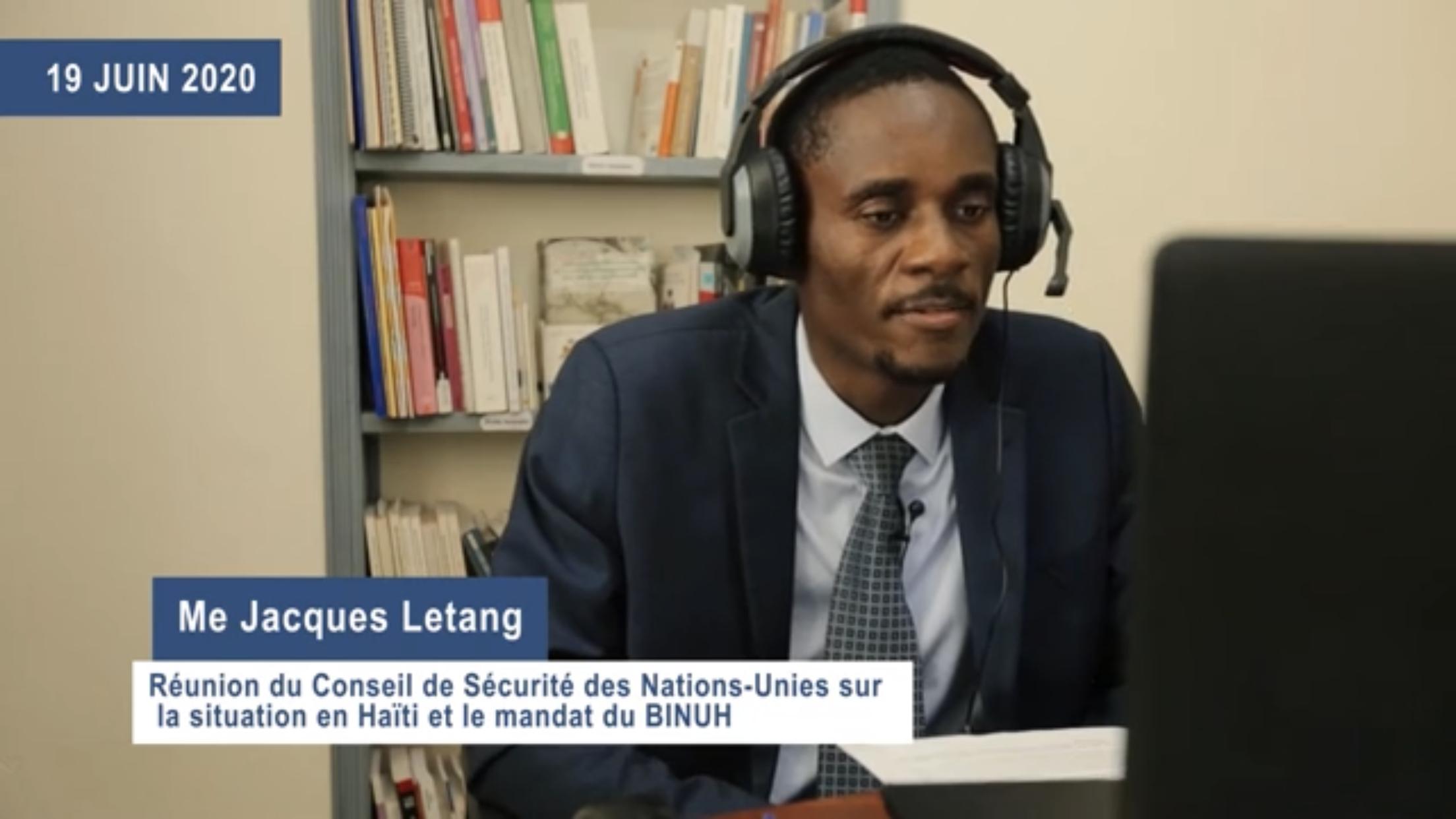 Devant l'ONU, Jacques LETANG remet en question l'appui international aux Droits Humains en Haïti