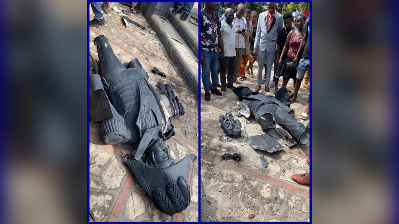 Lucien Calixte endommage une statue de l'empereur Jacques 1er au Cap-Haïtien