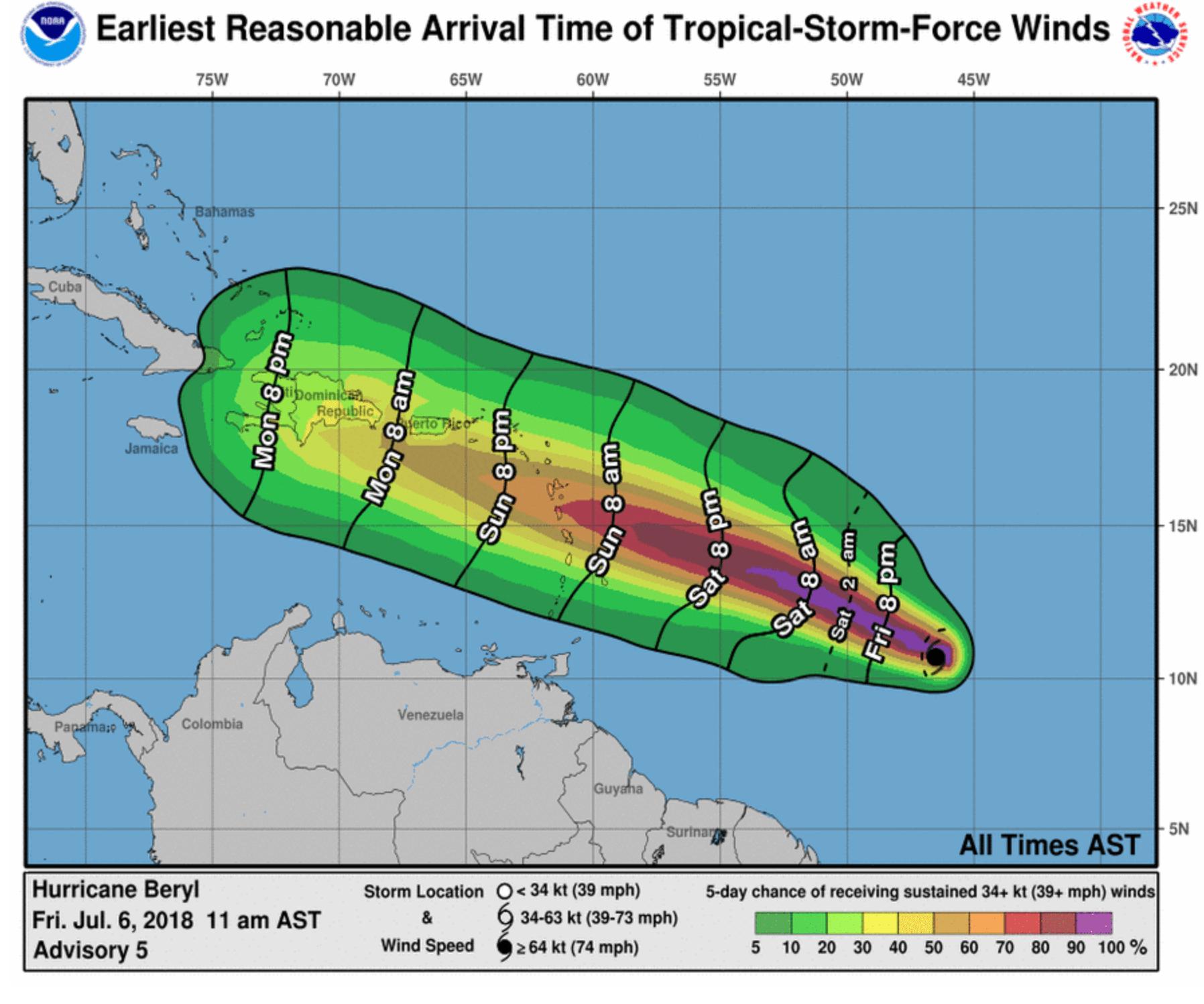 Carte de la probabilité des vents dans Beryl