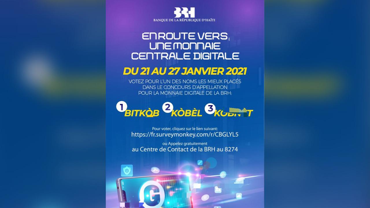 """La BRH invite à voter pour choisir le nom de la """"gourde digitale"""""""