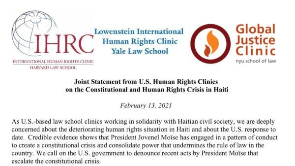 Trois cliniques de Droit aux USA dénoncent la crise constitutionnelle provoquée par Jovenel Moïse