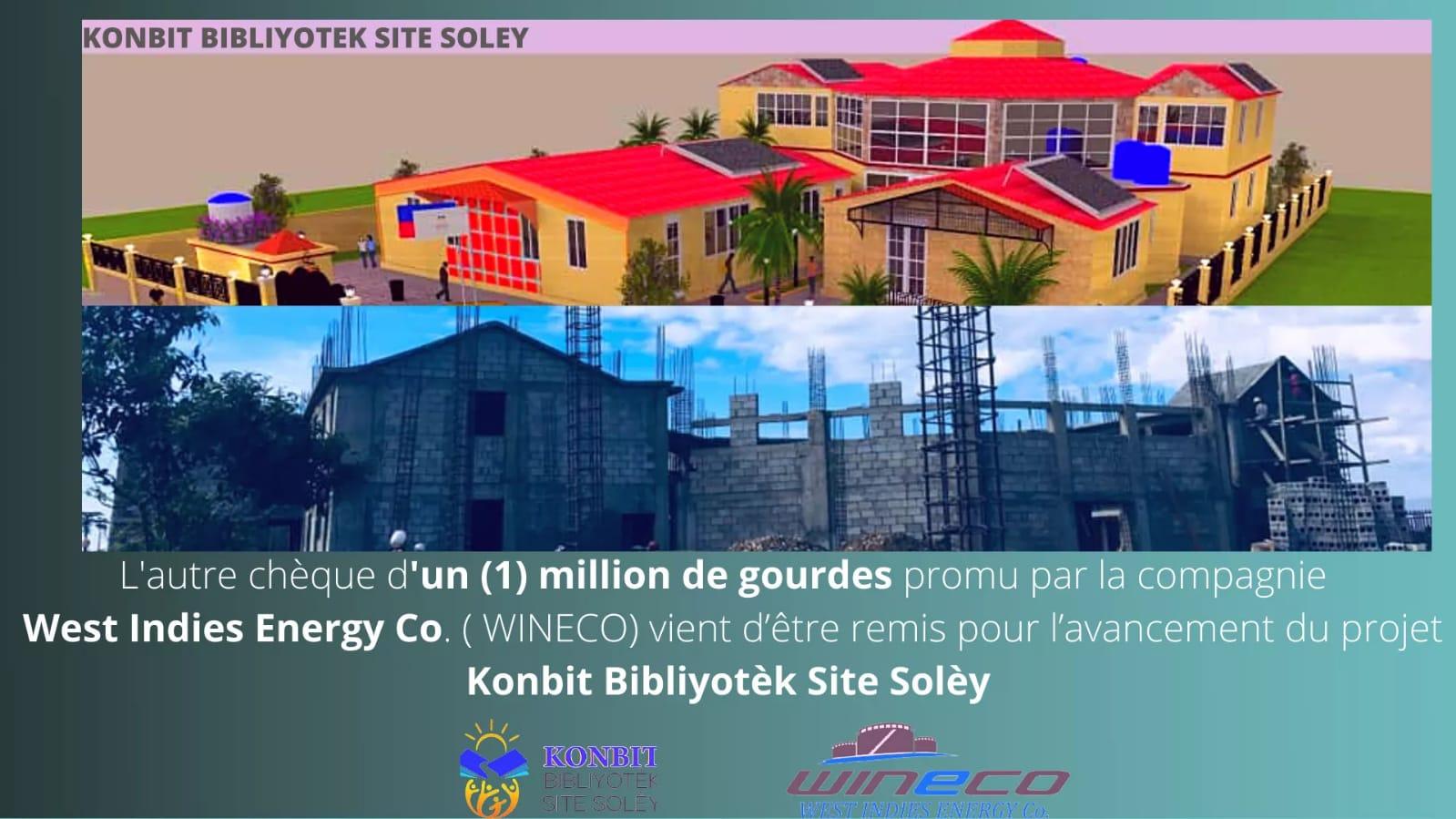 Konpayi WINECO fè don 1 milyon goud pou pwojè Konbit Bibliyotèk Site Solèy la