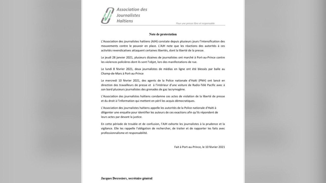 AJH indigné et scandalisé par les propos du président Jovenel Moïse sur les journalistes