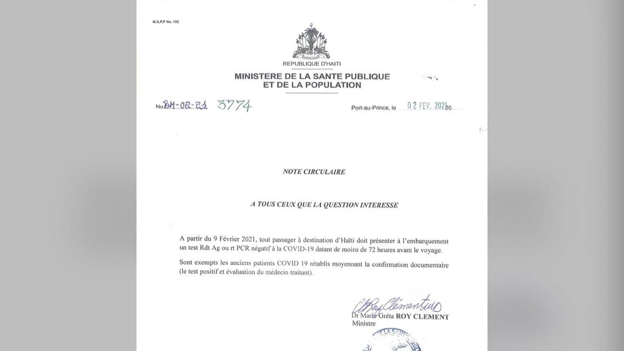 Le MSPP exige un test Covid-19 négatif à tout voyageur désireux de rentrer en Haïti