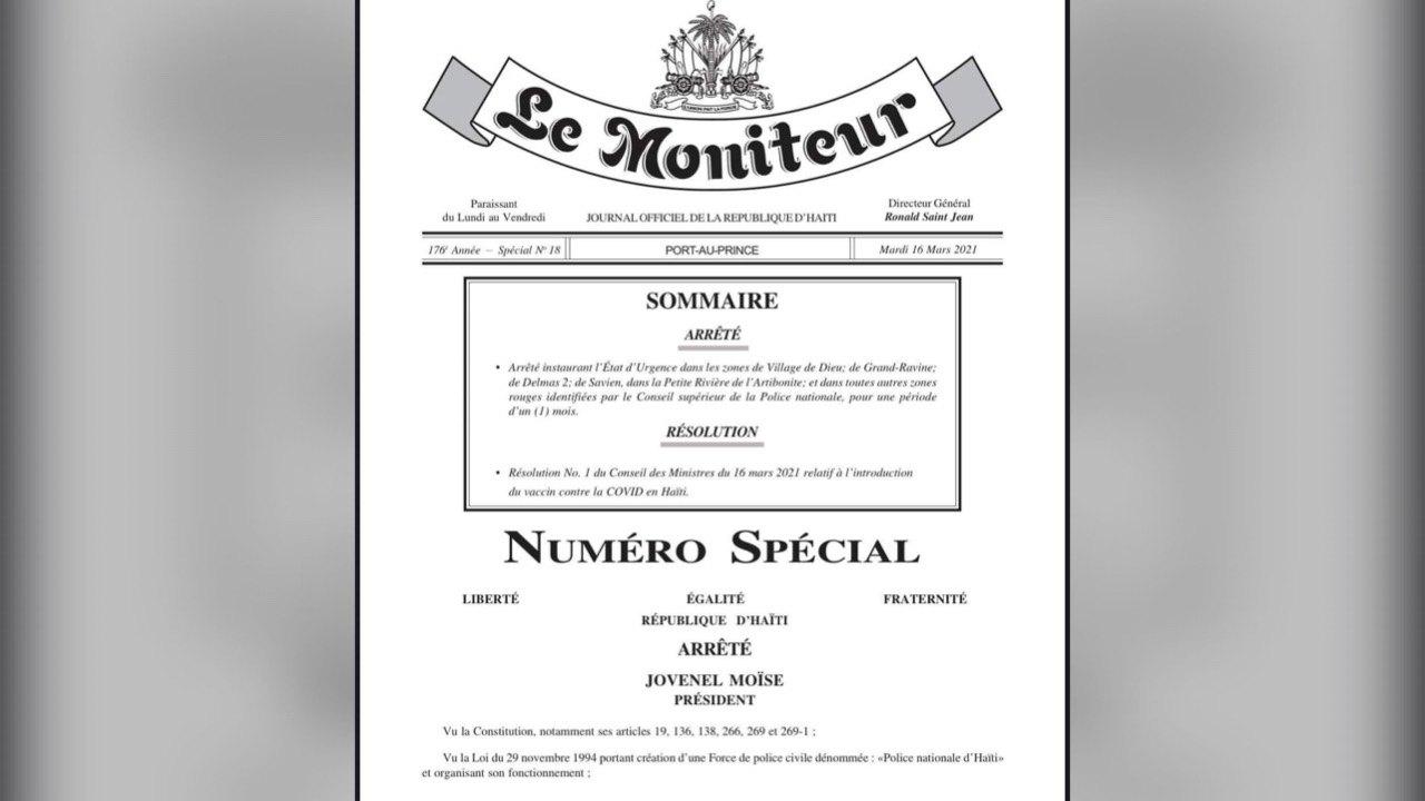 Jovenel Moïse publie un nouveau décret modifiant la loi sur l'état d'urgence