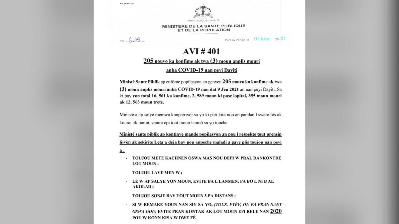 Kowonaviris: Gen 205 nouvo ka kontaminasyon ak 3 moun mouri, selon MSPP