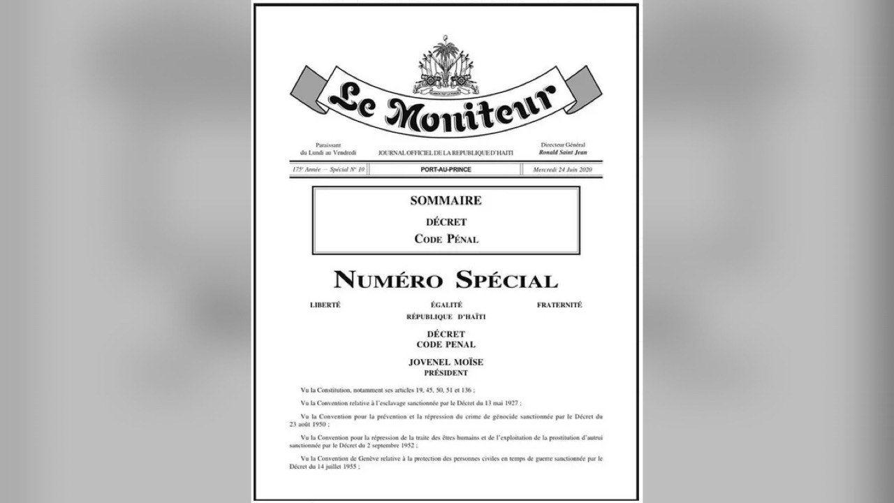 24 juin 2020: publication d'un décret annonçant un nouveau Code Pénal