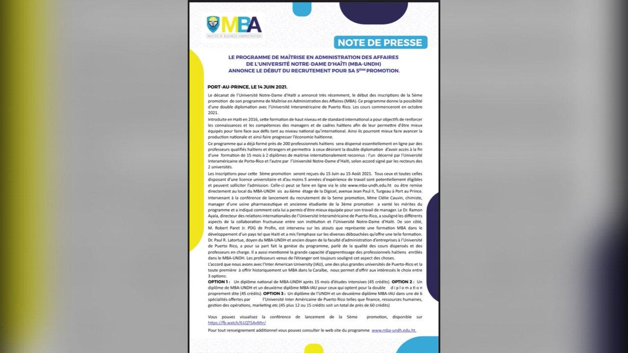 UNDH: lancement des inscriptions pour le programme de Maîtrise en Administration des Affaires