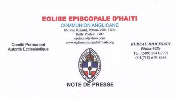 L'Eglise Episcopale d'Haïti réclame la libération de Kettely Desulmé et son chauffeur enlevés à l'Arcahaie