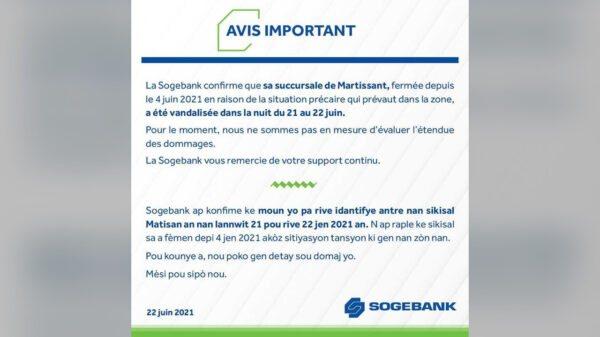 La Sogebank confirme le vandalisme de sa succursale de Martissant