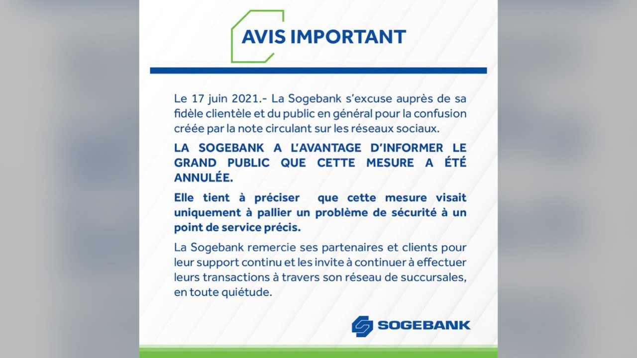 La SOGEBANK forcée d'annuler une décision jugée « injuste » et « scandaleuse »