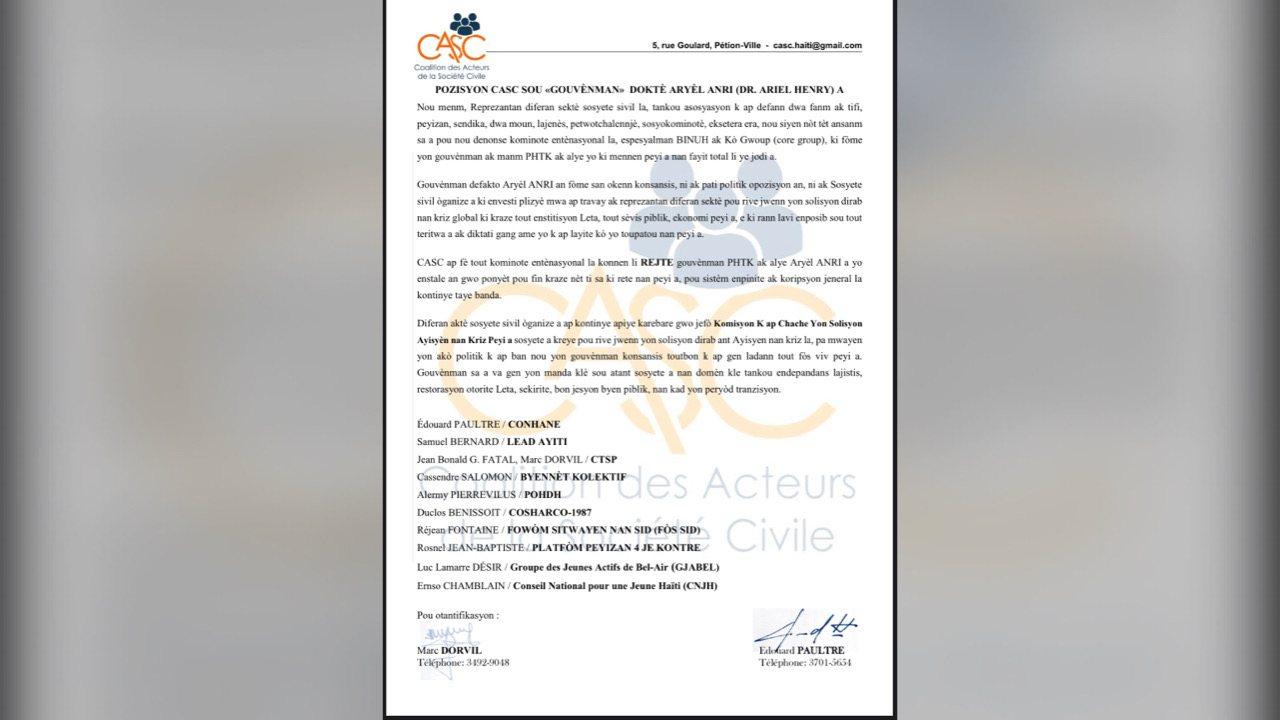 La Coalition des Acteurs pour la Societé Civile rejette le gouvernement du Dr Ariel Henry