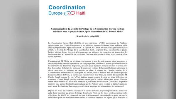 La Coordination Europe Haïti témoigne sa solidarité avec le peuple haïtien, après l'assassinat du président