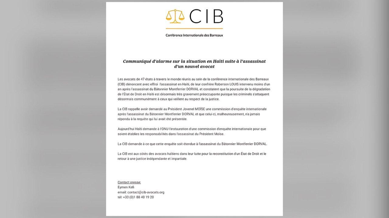 La conférence internationale des Barreaux dénonce l'assassinat de Me Roberson Louis