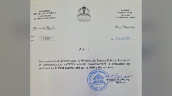 Le MTPTC interdit provisoirement la circulation sur le pont Estimé dans la Grand 'Anse