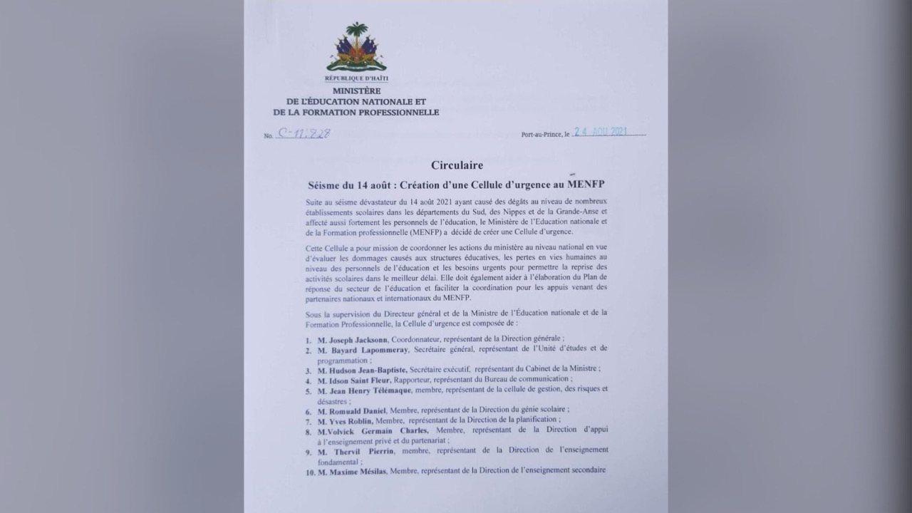 Séisme du 14 août: le MENFP crée uneCellule d'urgence