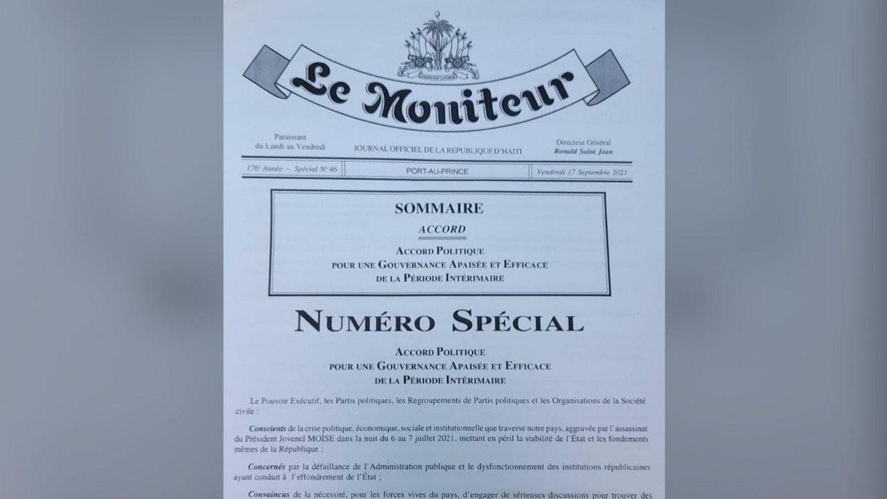 Le PM Ariel Henry a publié dans Le Moniteur l'Accord pour une gouvernance apaisée et efficace
