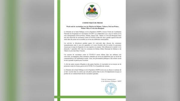 Le MSPP annonce des week-ends de vaccination de concert avec cinq mairies de la zone métropolitaine