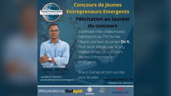 Dumas Maçon champion du concours de Jeunes Entrepreneurs Emergents