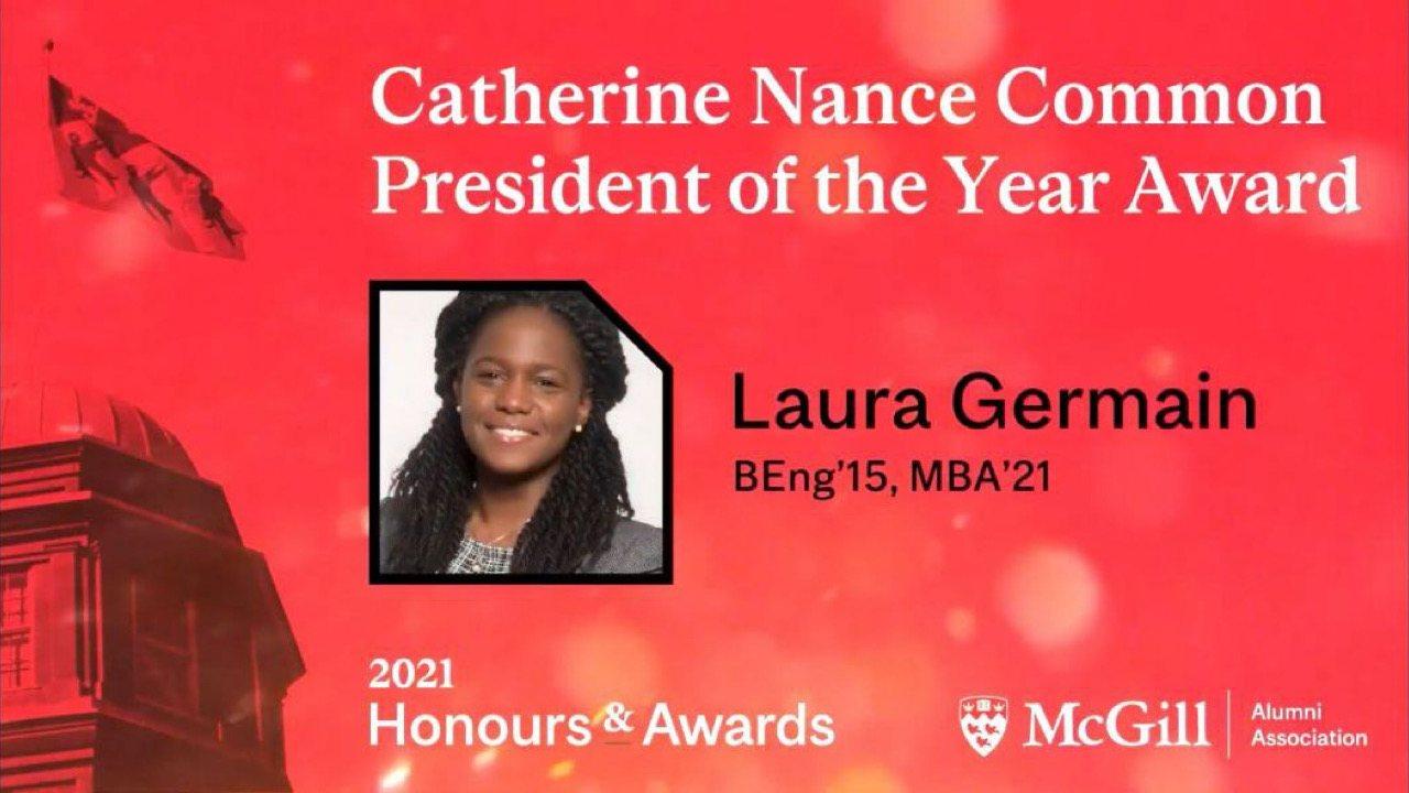 Une haïtienne lauréate du prix Catherine Nance Common de l'Association des diplômés de McGill