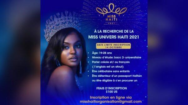 Miss Haïti 2021: les inscriptions sont ouvertes